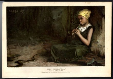 1893 Antique GIRL PLAYING PENNY WHISTLE Victorian Colour Lithograph JAMES CLARK